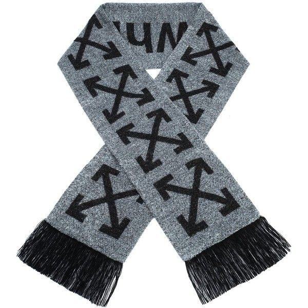 Off-White 'arrows' scarf (2.285 ARS) ❤ liked on Polyvore featuring accessories, scarves, grey, off white shawl, gray shawl, grey scarves, gray scarves and grey shawl