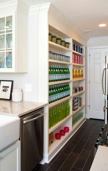 Narrow Open Pantry Shelves Galley Style Kitchen House Design Kitchen Home Kitchens