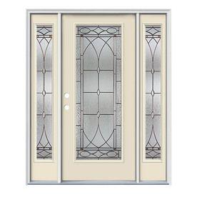 Jeld Wen Hutton Flush Insulating Core Full Lite Right Hand Inswing Bisque Steel Painted Prehung Entry Door Door