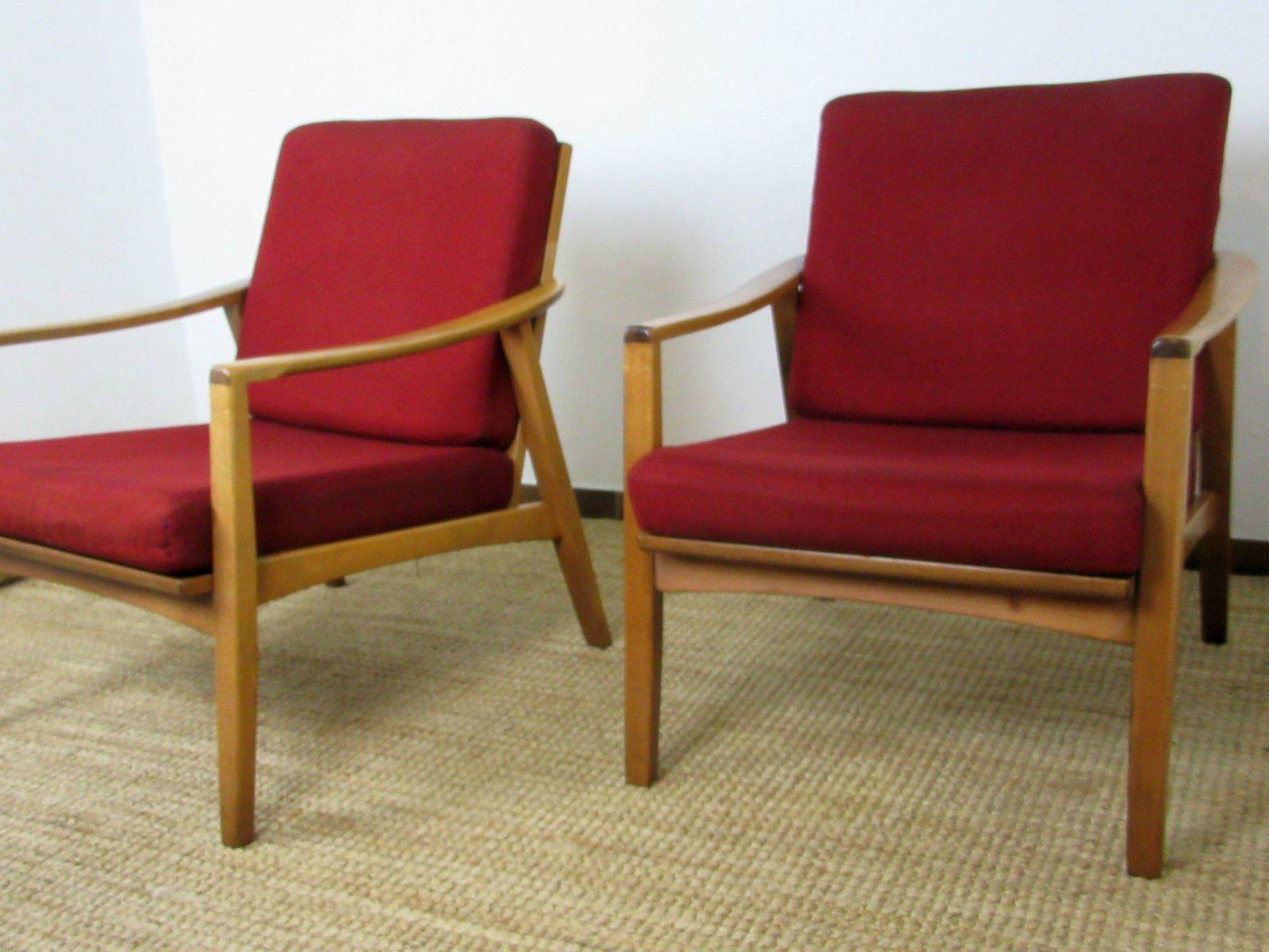 2 x sessel mid century danish design lounge club easy chair 50er 60er teak ebay easy. Black Bedroom Furniture Sets. Home Design Ideas