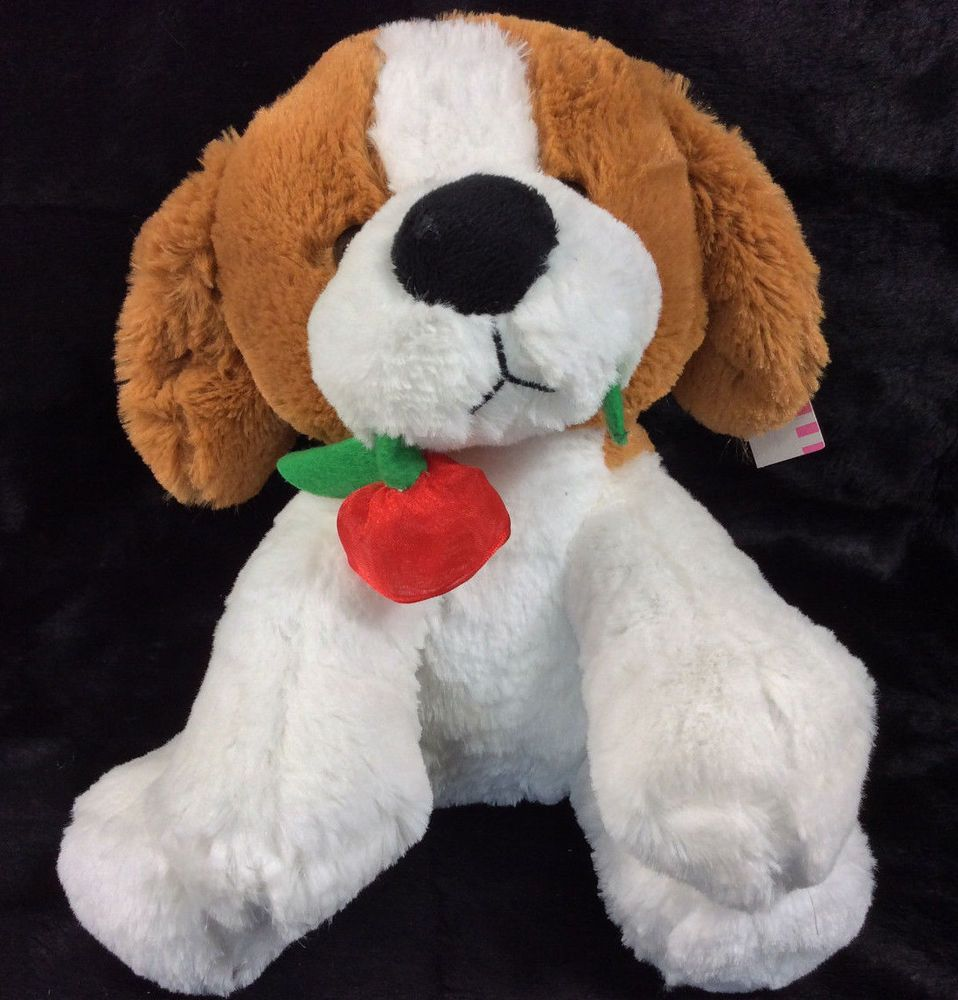 Kellytoy Puppy Dog Rose In Mouth Brown White Plush Stuffed Animal