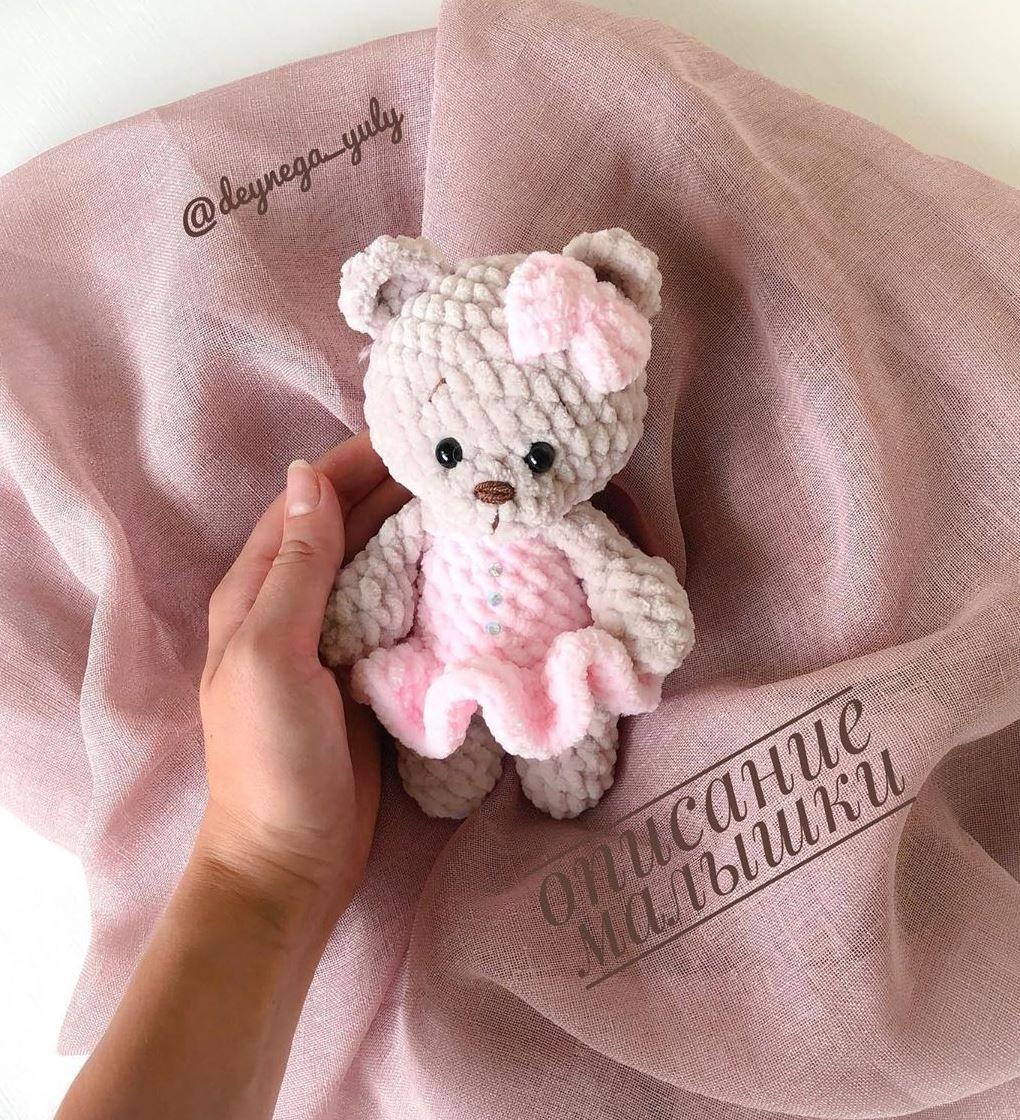 Crochet teddy bear in dress free pattern | Amiguroom Toys