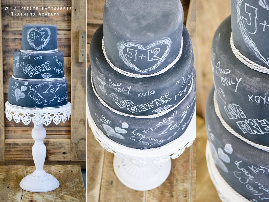Personalised messages onto a Chalkboard cake