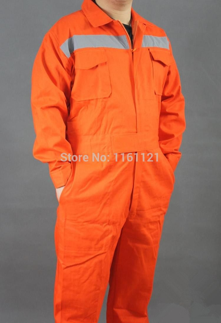 Mens 100% cotton engineering mechanic and car repairing one piece  reflective working coveralls clothes uniform long sleeve 204e1f29b9e8