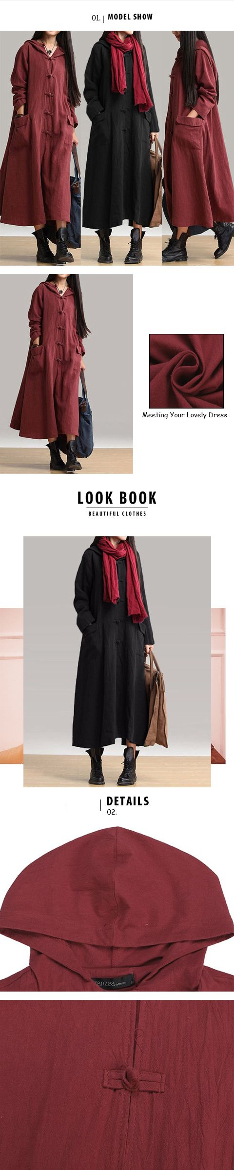 Vintage women long sleeve plate buckles pocket hooded maxi dresses