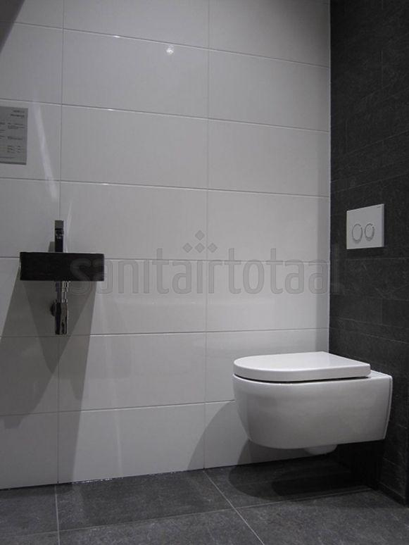 Toilet tegels inspiratie ideeen witte wandtegel grijs for Tegels wc voorbeelden