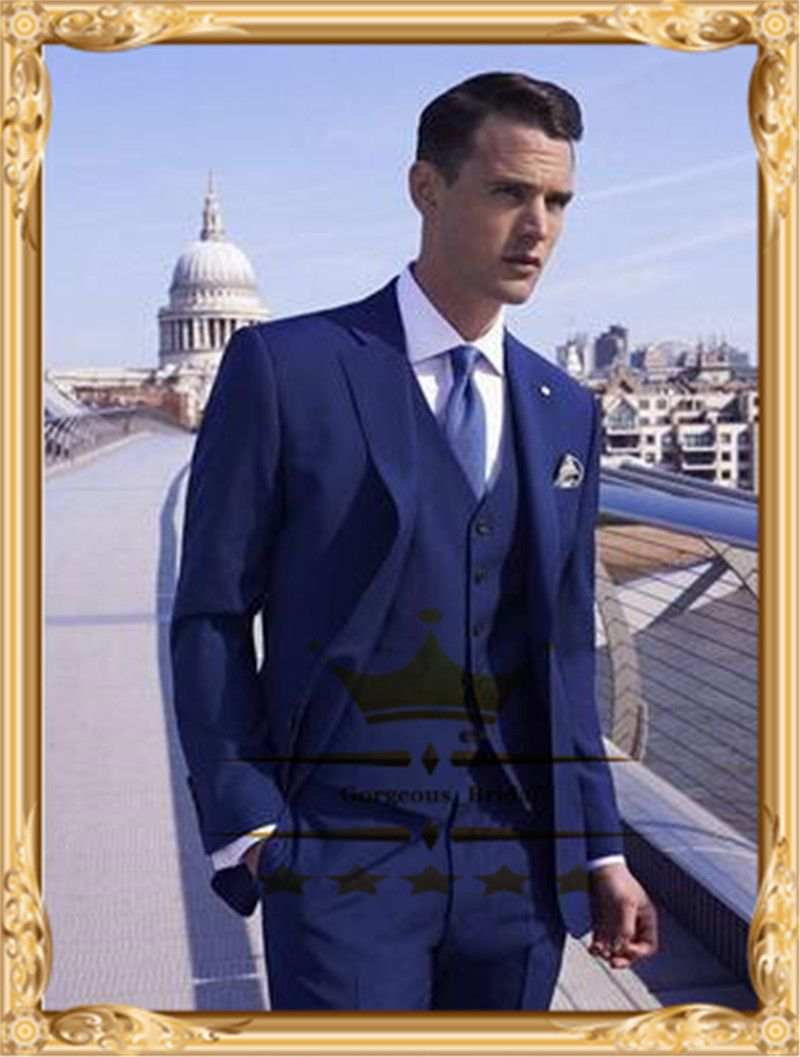 d83d9e96a9880 Find More Suits Information about 2014 New Arrival Blue Suits Mens Wedding  Suit One Button Notch Lapel Big And Tall Clothing Men s Groom BM397