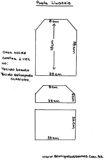 9fe5c071f PORTA LINGERIE Materiais   70 cm tecido tricoline branco  70 cm tecido  tricoline estampado