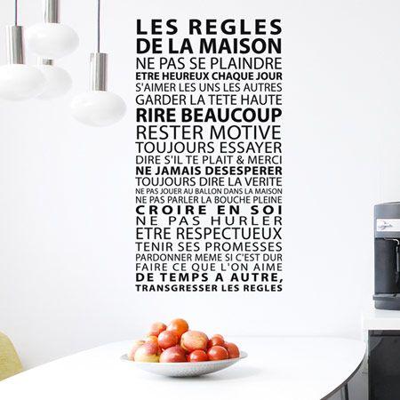 sticker texte r gles de la maison r gles de la maison de la maison et stickers muraux. Black Bedroom Furniture Sets. Home Design Ideas