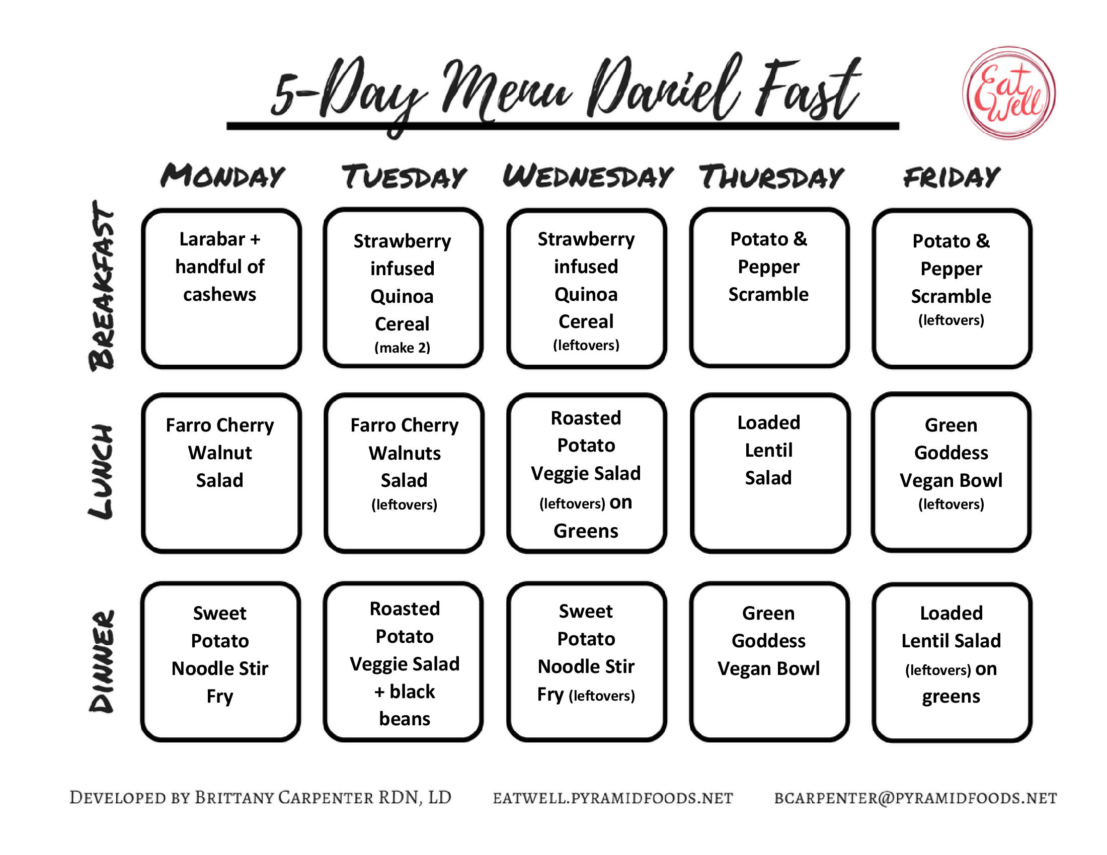 Daniel Fast 2 5 Day Menus With Recipes Eat Well Dietitians Daniel Fast Daniel Fast Recipes Daniel Fast Meal Plan