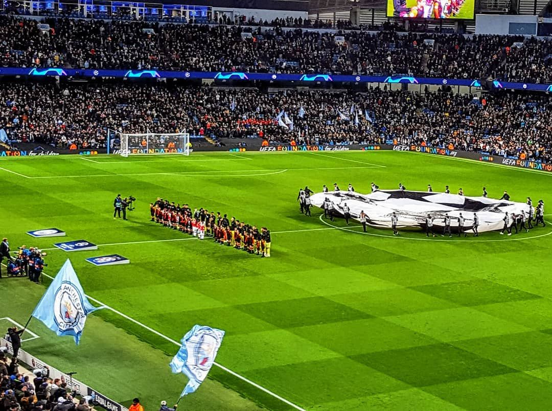 The Ceremonial Shaking Of The Ball Parachute Occurs On Tuesday I Attended My First Champio Etihad Stadium Manchester Champions League Football Football Games