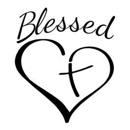 Blessed Heart Cross Religious decal