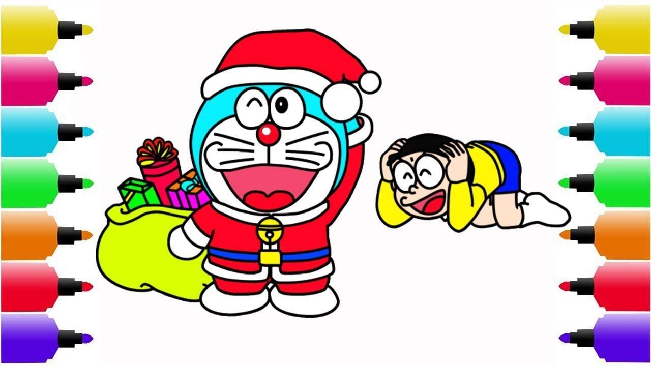 Vẽ Doraemon Doraemon Và Nobita Biến Thành ông Già Noel đi Tặng Quà