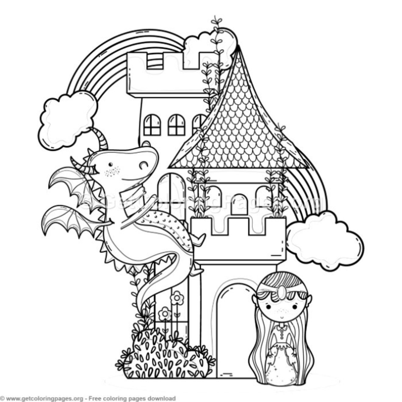 Magic World Castle Princess And Dragon Coloring Pages