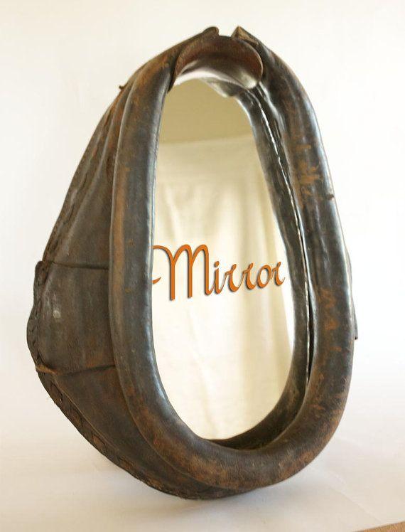 horse collar mirror harness western decor rustic leather
