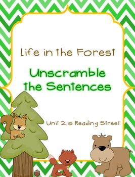 Life in the Forest - Unscramble the Sentences SF 2 5 Reading Street
