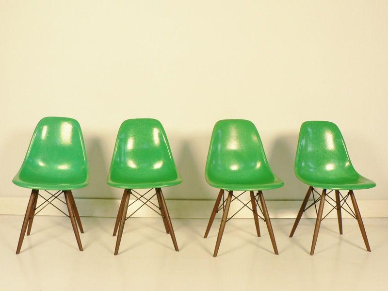 Chaise Charles Et Ray Eames Fibre De Verre Original Verte Chaises Eames Chaise Eames Dsw Mobilier De Salon