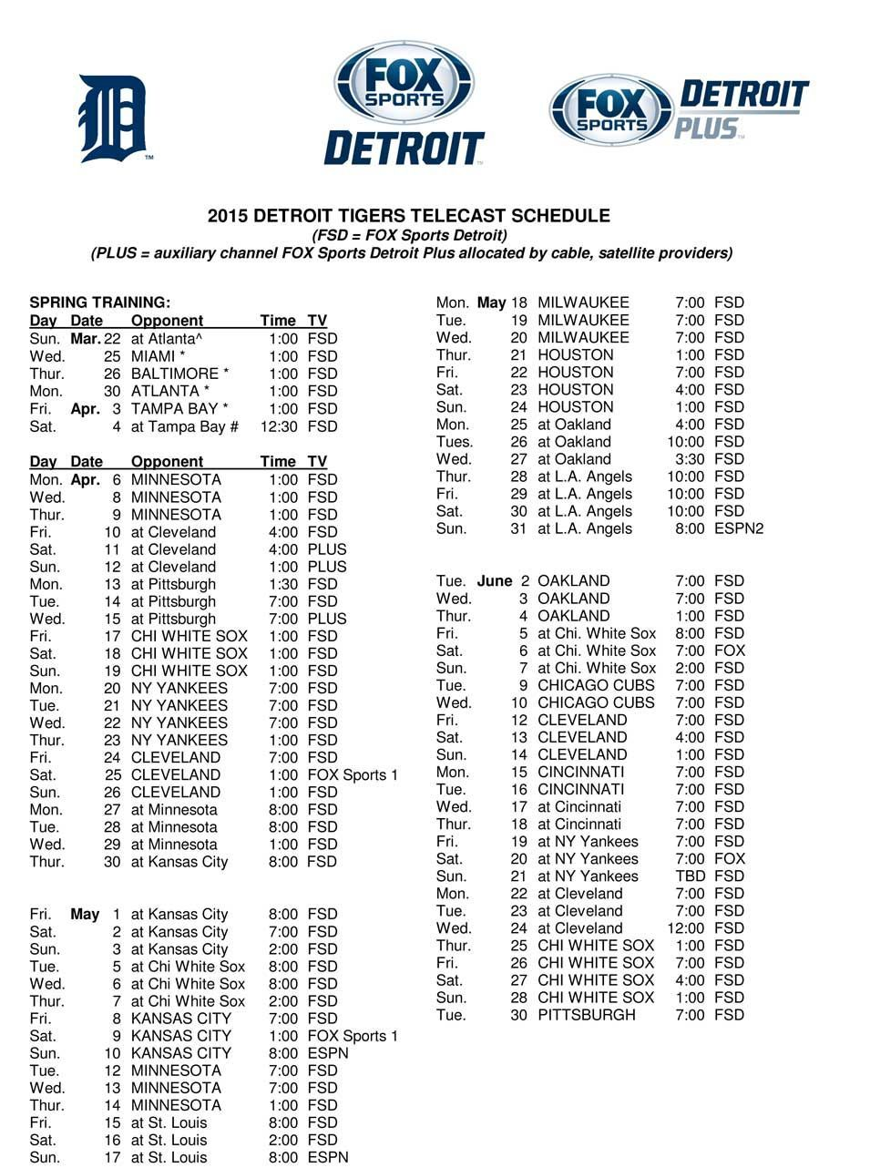 2015 tigers tv schedule | detroit tigers | pinterest | detroit