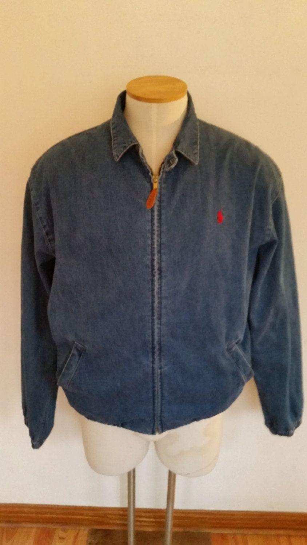6385234eba Vintage Ralph Lauren Men's Denim Zipper Jacket, Medium Wash Denim, 90's Polo  Denim Jacket, Size L, Made in USA, 100% Cotton Urban Hipster by ZoomVintage  on ...