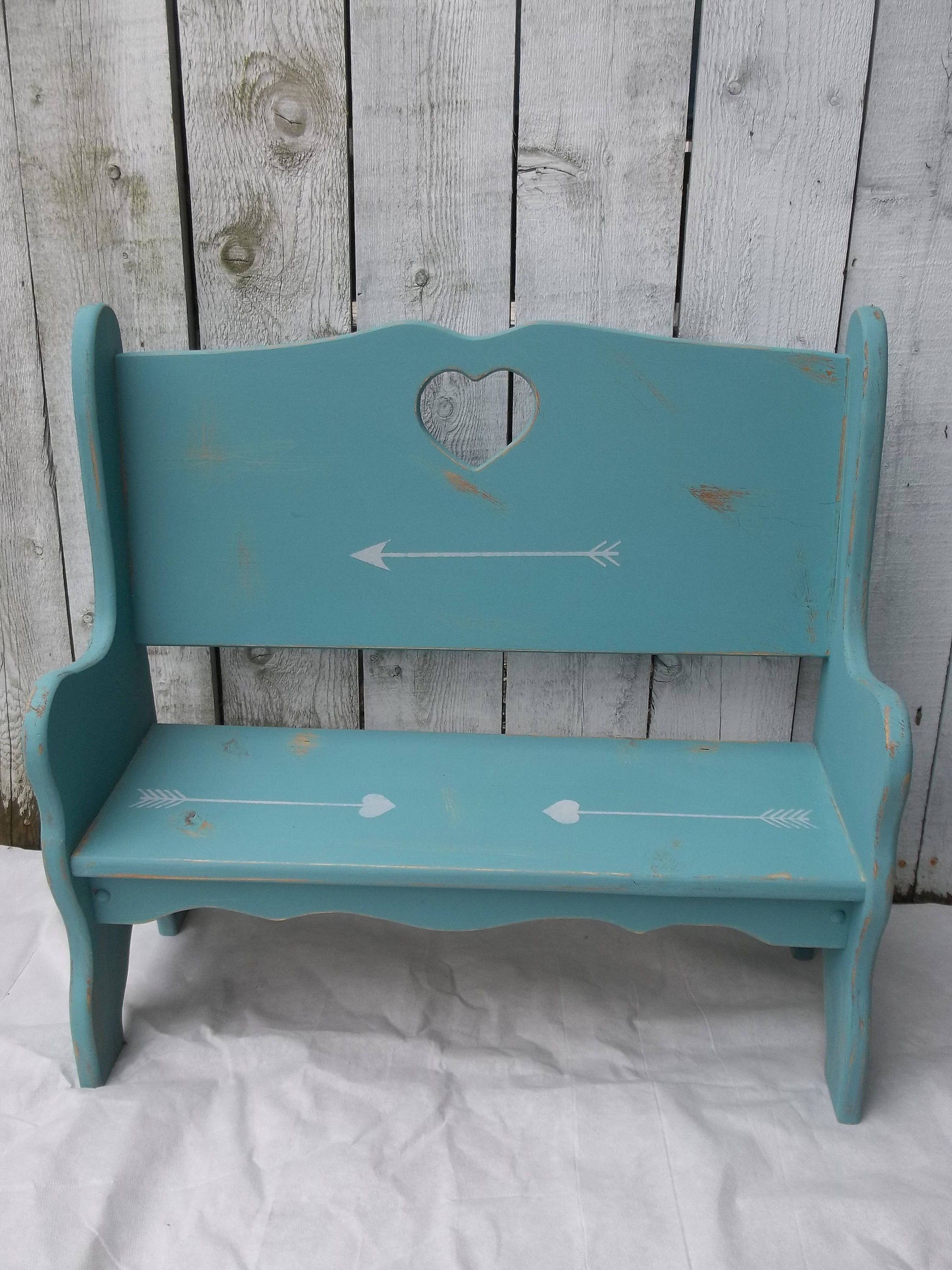 Remarkable Wood Bench Shabby Chic Childs Bench Vintage Rustic Teal Theyellowbook Wood Chair Design Ideas Theyellowbookinfo