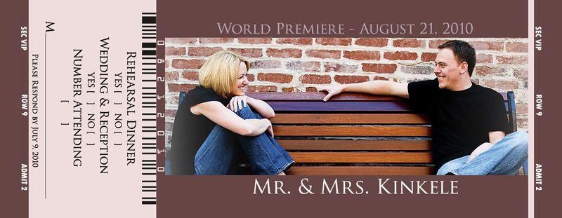Our Movie Ticket Wedding Invitations   IAMNOTASTALKER