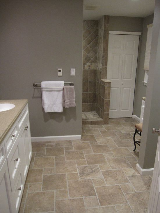 Etonnant Bathroom Tile Floor Design, Pictures, Remodel, Decor And Ideas (like The  Color Of Floor Tile) We Both Like White Cabinet, Floor Color And Wall Color.