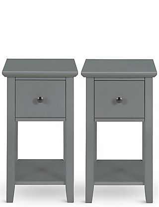 Best Set Of 2 Hastings Dark Grey Compact Bedside Tables 400 x 300
