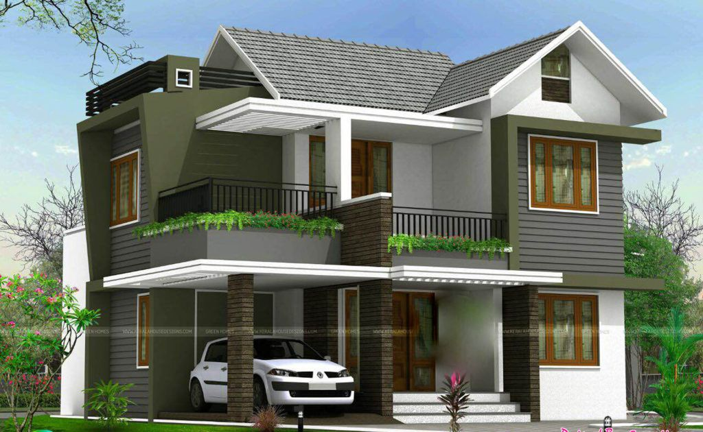 1738 Square Feet 4 Bedroom Double Floor Sloping Roof Home Design And Elevation Kerala House Design House Front Design Duplex House Design