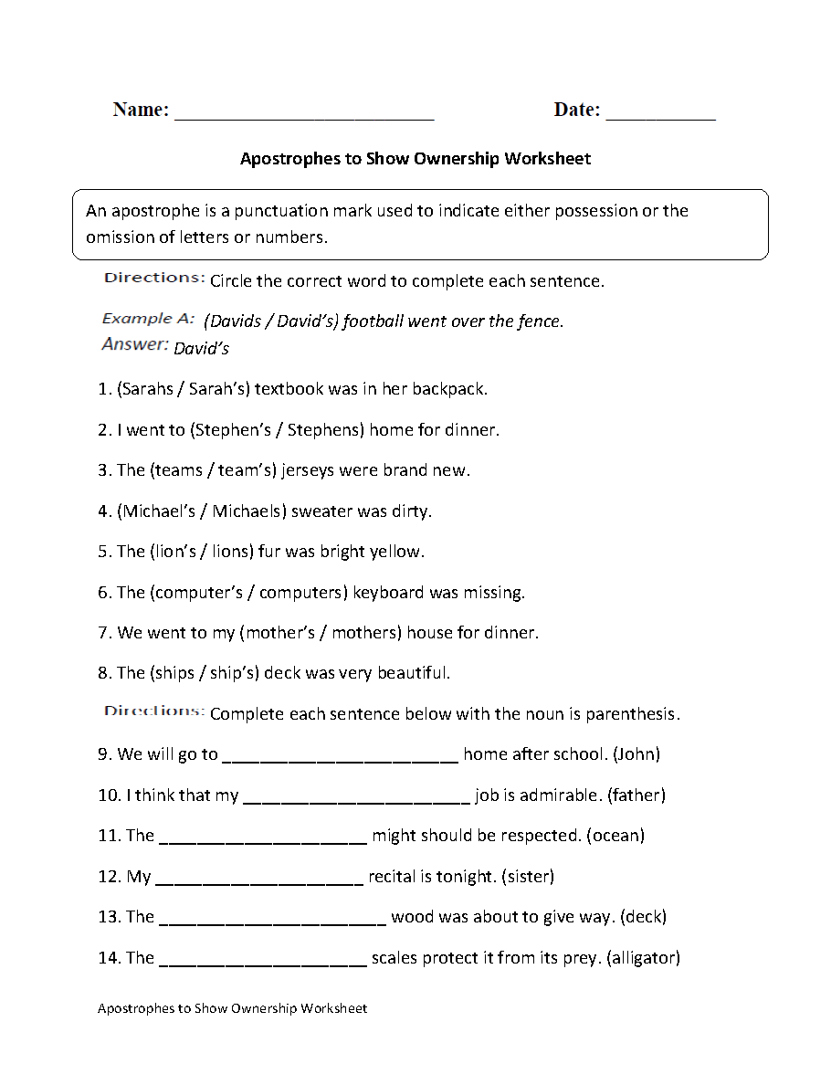 Apostrophe to Show Ownership Worksheet   Grammar worksheets [ 1188 x 910 Pixel ]