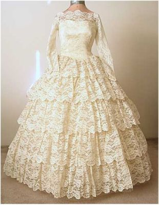 Vintage 50s 60s Wedding Dress Princess Ivory Lace Tulle Gown S M ...
