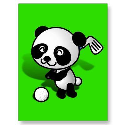 SOLD! Cute Cartoon Baby Panda Bear Golfing Postcards shipping to Aberdeen, United Kingdom #golf #golfing #panda