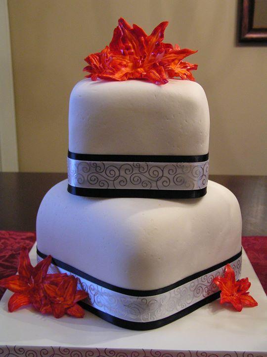 Small Square Wedding Cake Orange Lilies Black Silver