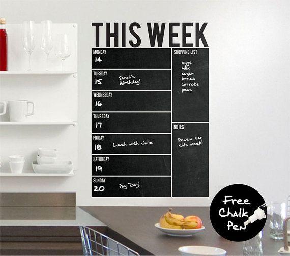 Week Erasable Chalkboard Blackboard Wall Decal Sticker Art Office Calendar