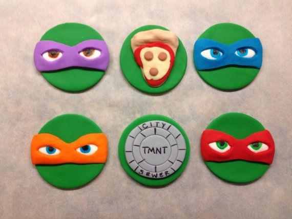 Teenage Mutant Ninja Turtles Cupcake Toppers From Etsy Ninja Turtle Cupcakes Fondant Cupcake Toppers Tmnt Cake