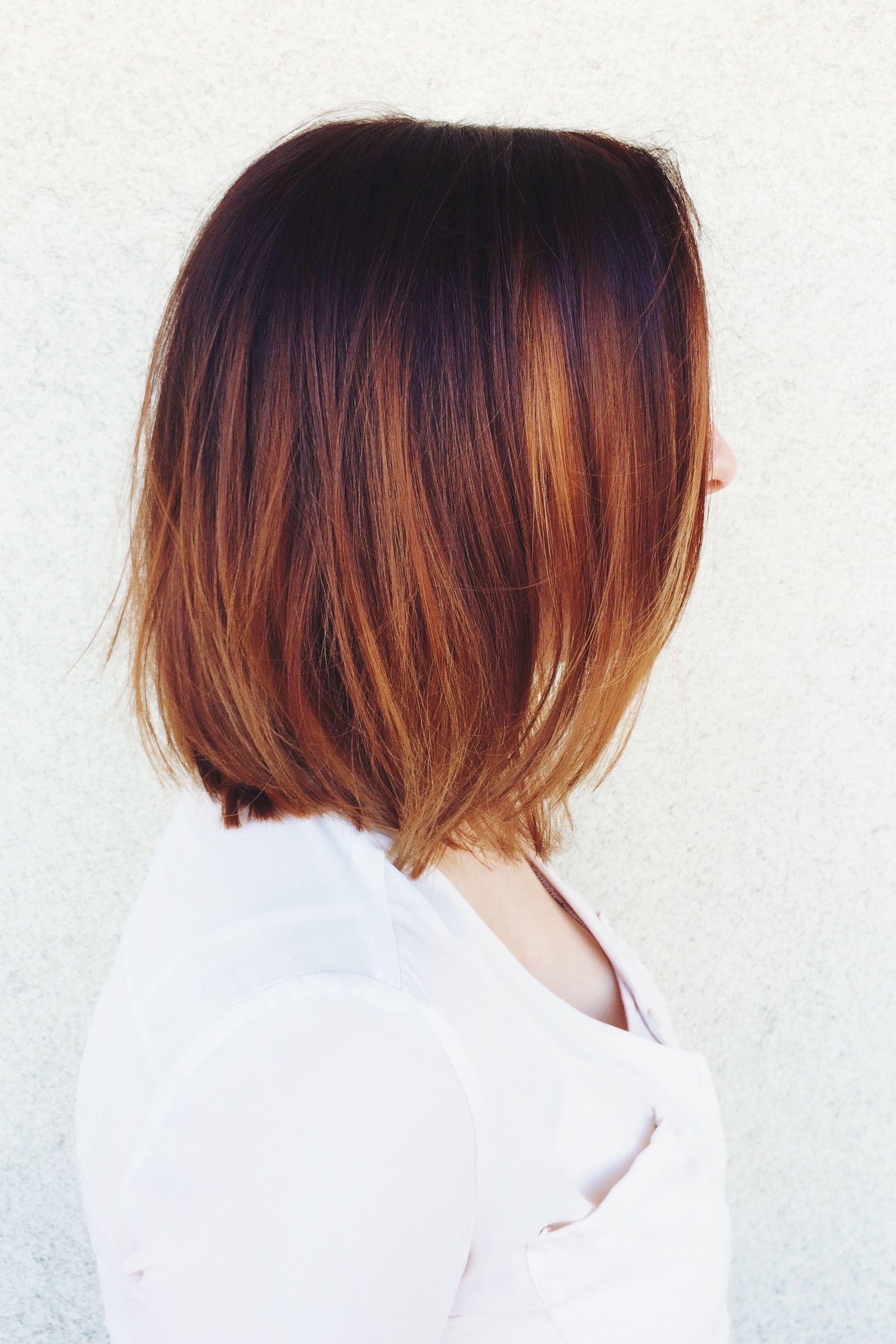 Copper color melt balayage colormelt ombre olaplex carlie hair