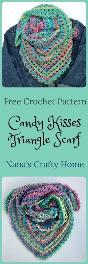 Candy Kisses Triangle Scarf Free Crochet Pattern featuring Red Heart ...