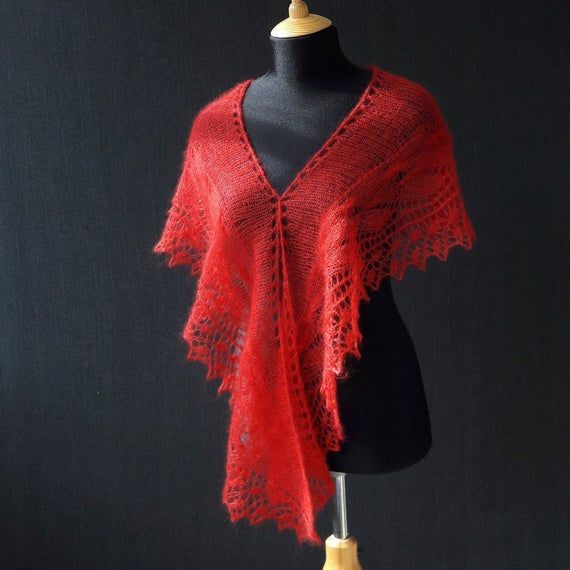 Photo of Hand knit lace mohair red scarf, knit wedding mohair cover up, knitting lace wrap