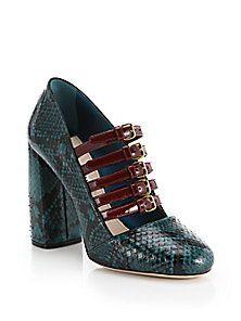Miu Miu - Ayers Snakeskin & Patent Leather Mary Jane Pumps