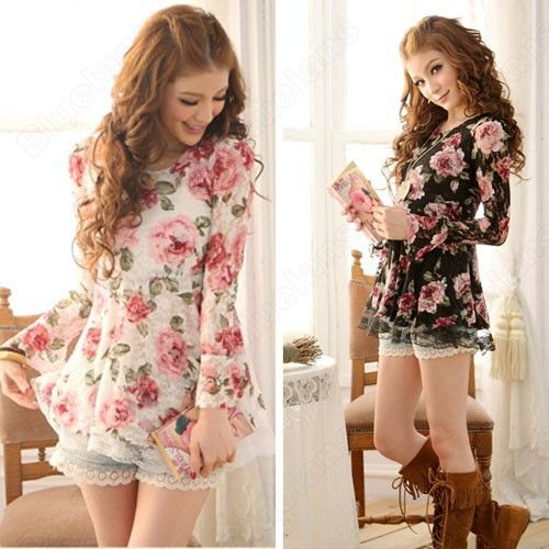 Summer Long Sleeve Tops T Shirts Floral Ladies Lace Short Mini ...