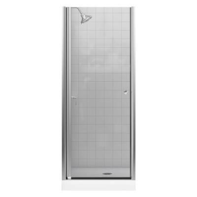 Kohler Fluence 30 1 4 In X 65 1 2 In Semi Frameless Pivot Shower Door In Matte Nickel With Handle Shower Doors Tub Shower Doors Shower Door Installation