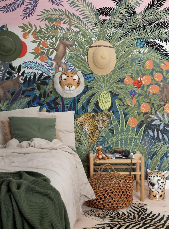 Mural jungle wall animals in 2020 Animal wallpaper