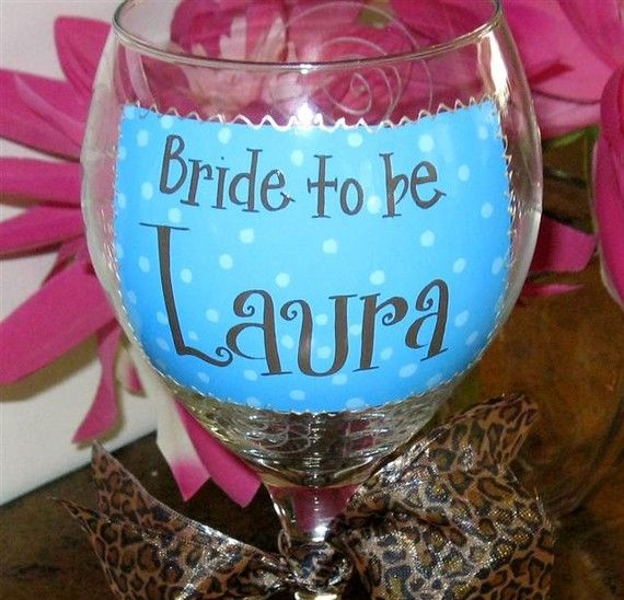 Bride to Be Wine Glass Choco/Turquoise by winewhimsy on Etsy, $20.00