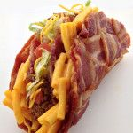 The Double Decker Mac & Cheese Stuffed Bacon Weave Taco from Dude Foods. Sadly, not sold in stores...YET!