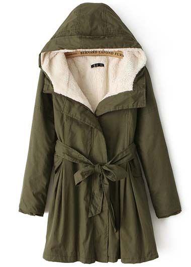 Comfy HoodedArmy Green Coat
