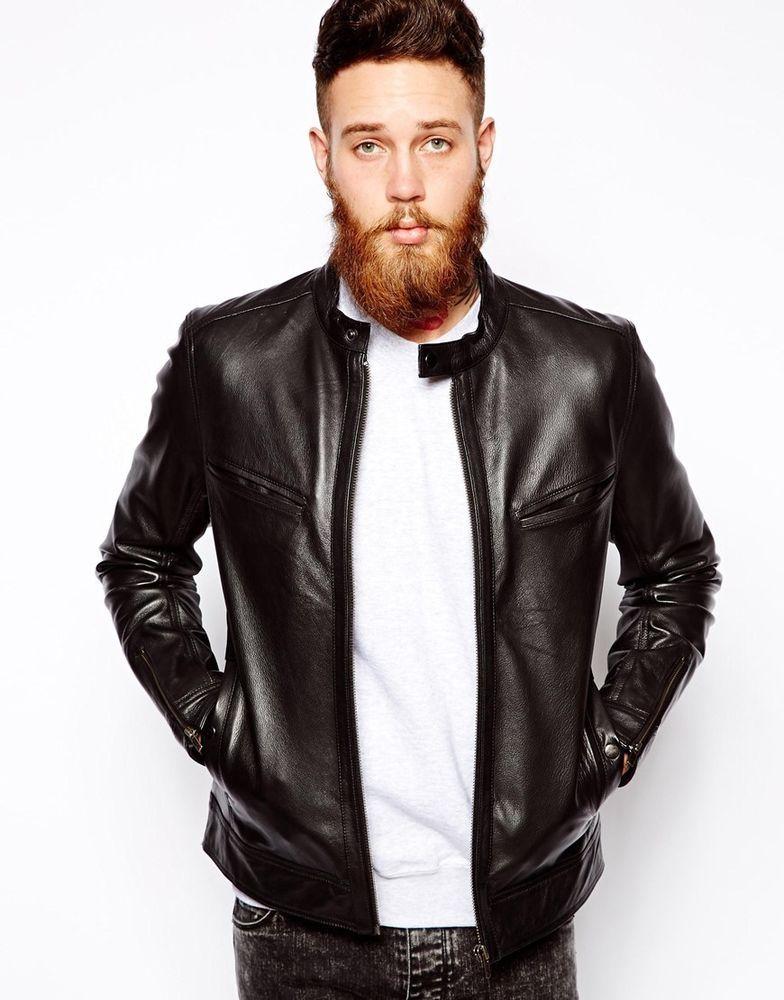 Asos Men S Leather Biker Jacket In Black Size M Chest 38 40 Rrp 100