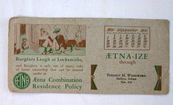 1930 Aetna Insurance Advertising Calendar Vintage Antique