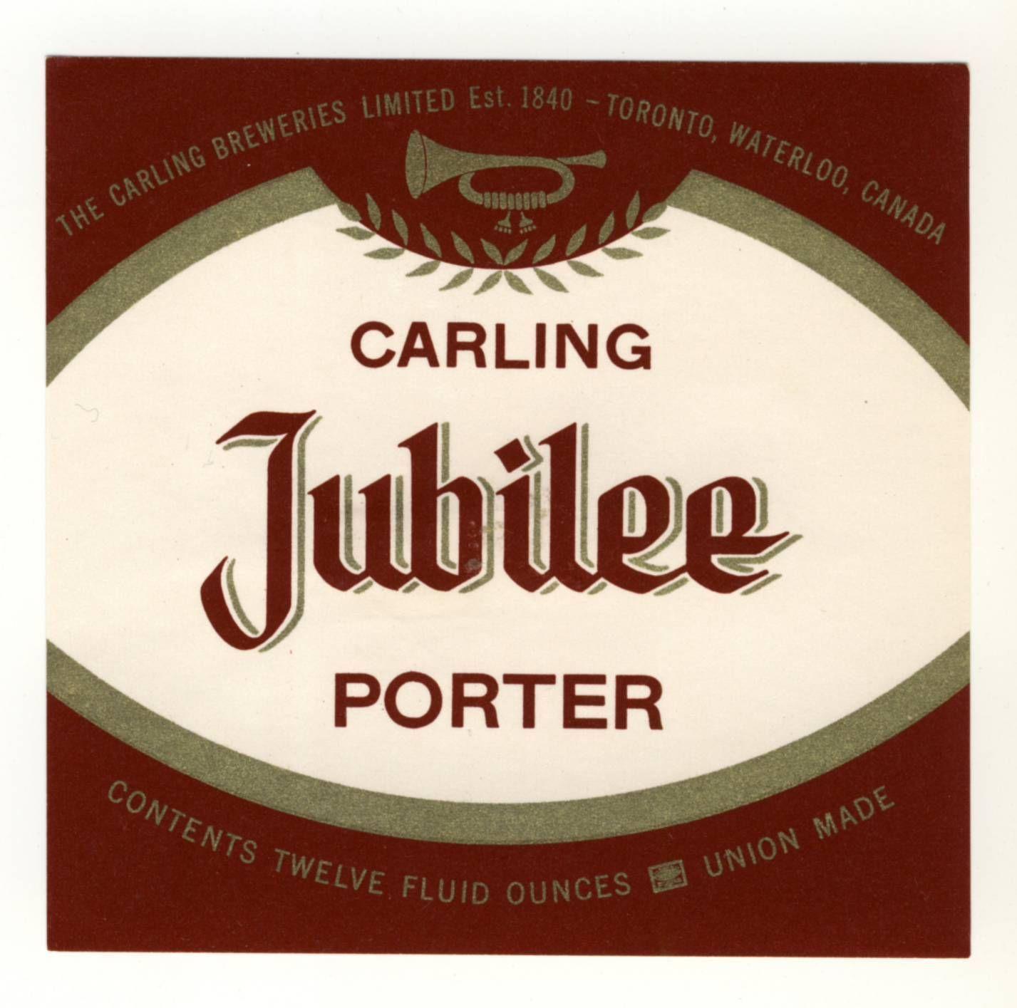 Jubilee Porter, made at the Carling Beer Factory in Waterloo ...