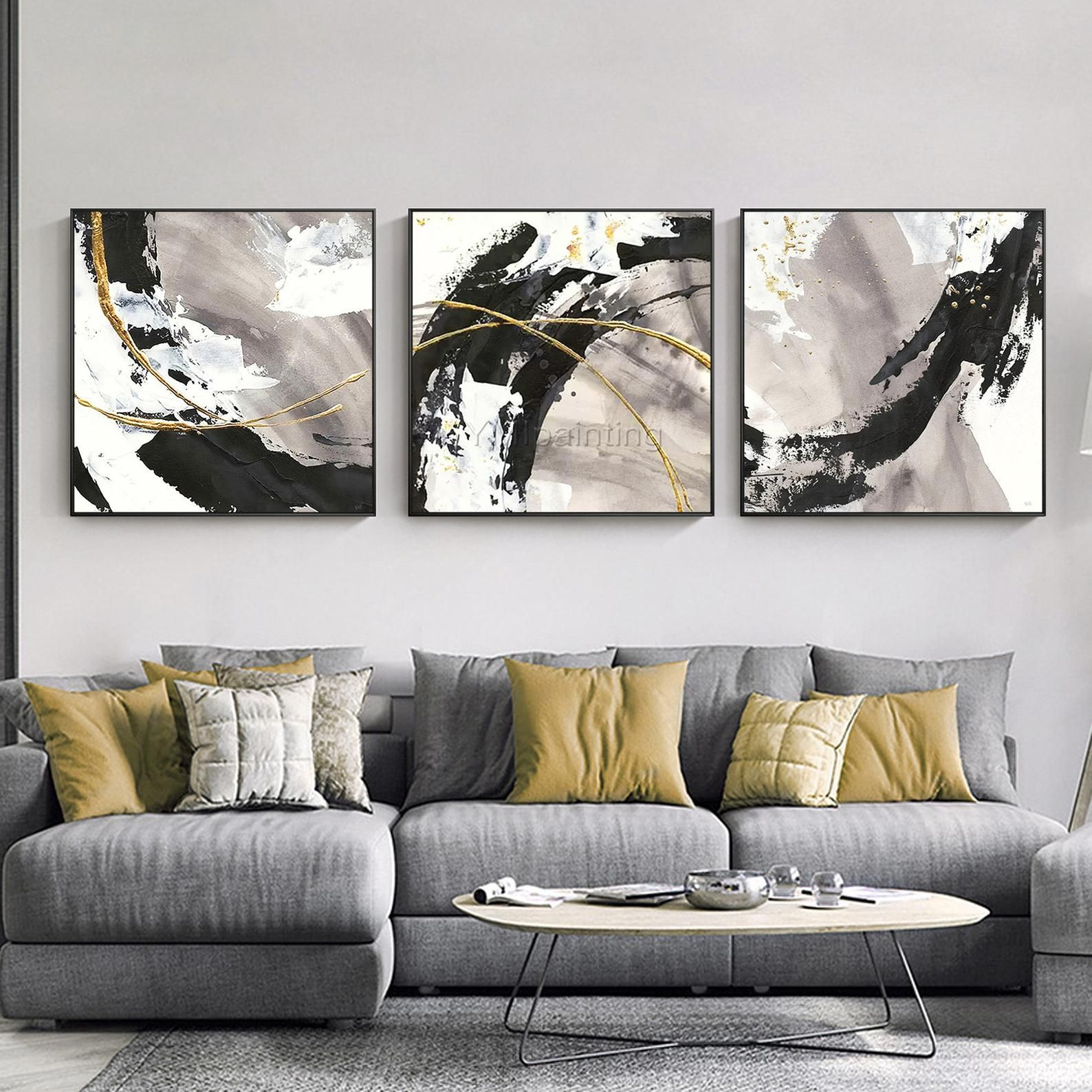 3 pieces gold art abstract paintings on canvas set of 3