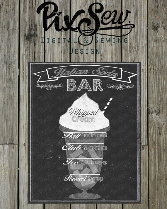 Chalkboard Italian Soda bar sign/picture 8x10 INSTANT by PixSew, $3.00