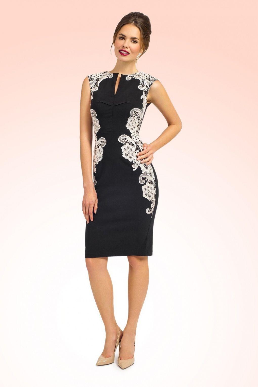 69dbc4ce85e624 Eva Black and Cream Crochet Lace Pencil Dress in 2019   Fancy ...